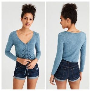 Ae Soft & Sexy Long Sleeve Ruched Front T-shirt